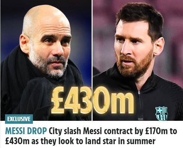 原创             曝曼城今夏继续招募梅西 送5年4.3亿镑巨额合同