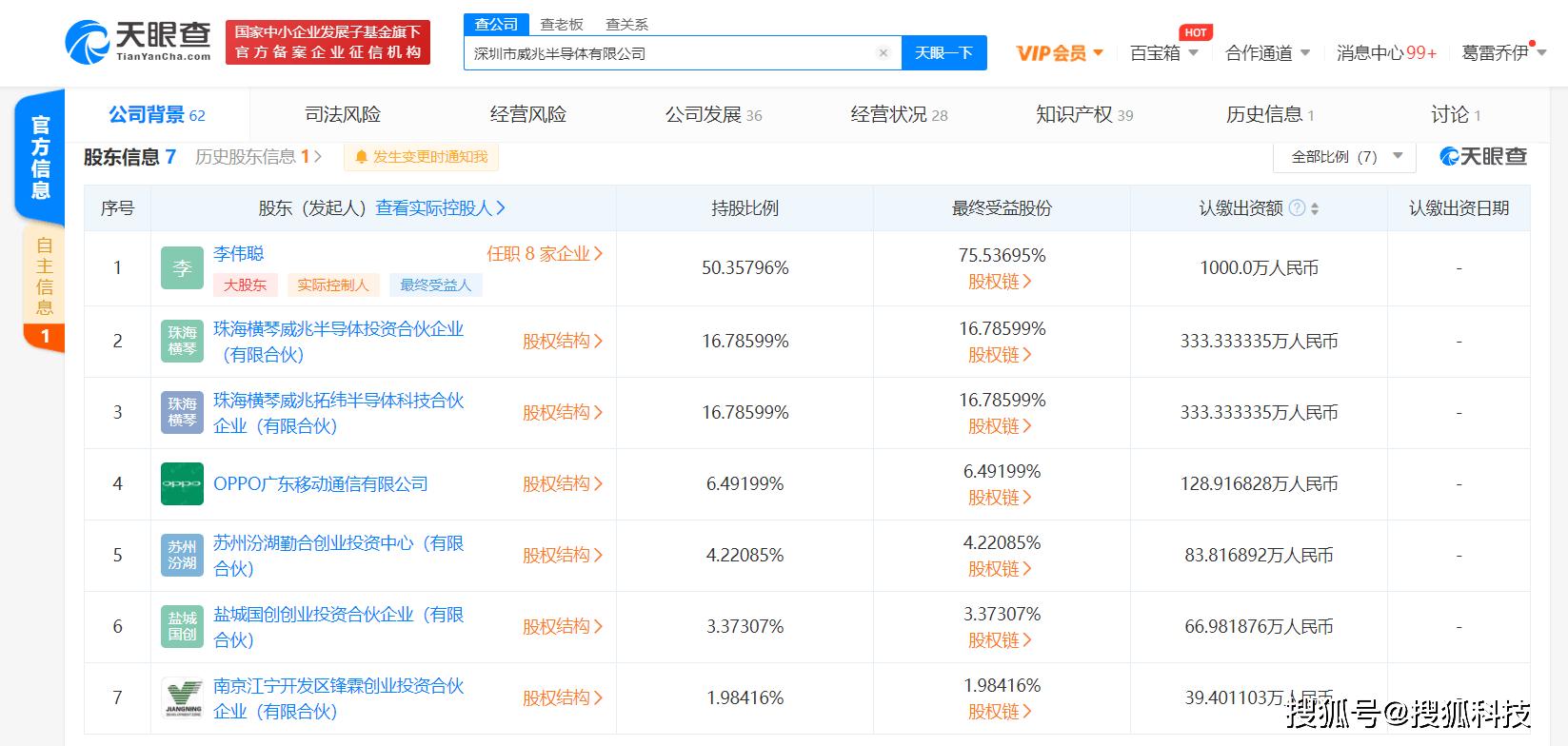 OPPO关联公司入股深圳市威兆半导体有限公司