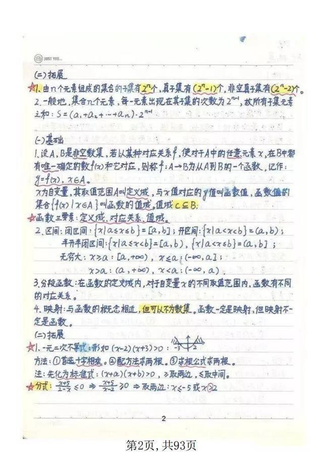 高中数学:725分高考状元笔记,打印吃透,高考成绩不会差