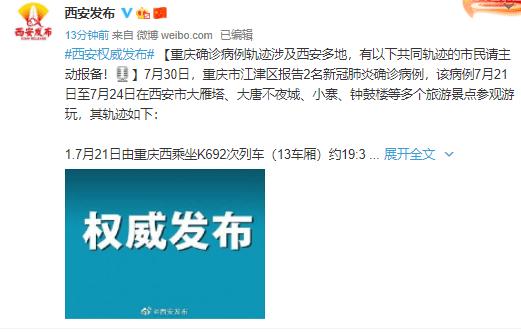 重庆一对情侣确诊,曾去西安旅游,在大唐不夜城、秦始皇兵马俑博物馆旅游