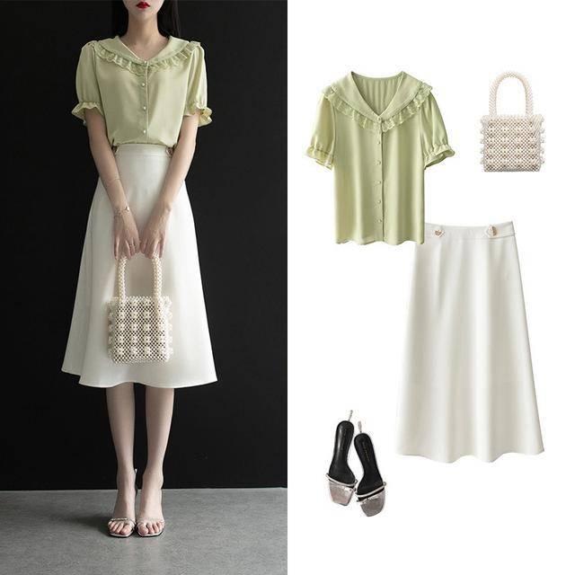 """初秋想要穿得优雅有气质,试试""""衬衫+半裙"""",时髦又有女人味"""