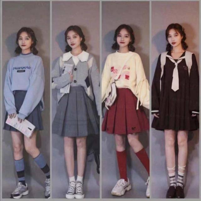原创             百褶裙十分百搭,色系相近的服装搭配,都非常的好看而且十分显腿长适合小个子
