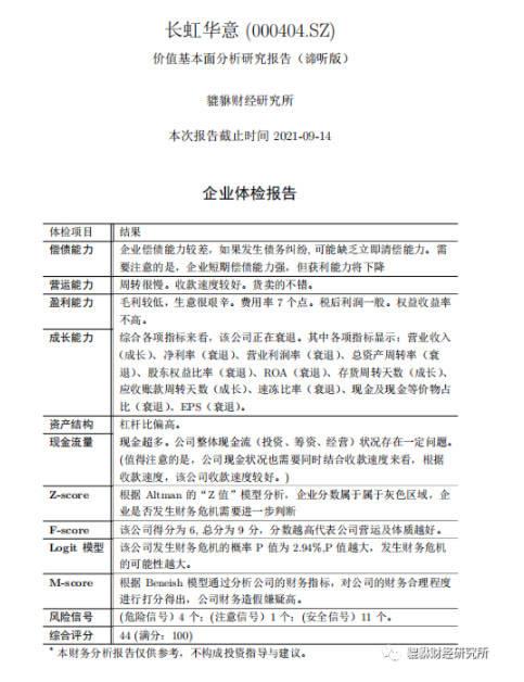 (44分)长虹华意(000404.SZ)基本面研究报告(谛听版)