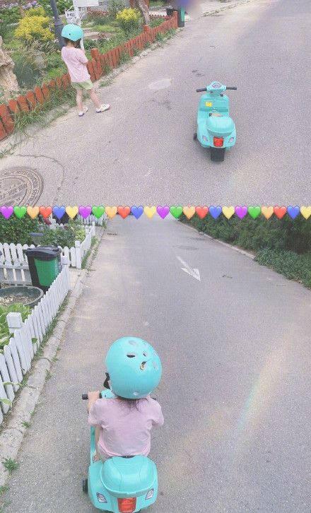 孙怡晒出3岁女儿大福骑车的背影照片