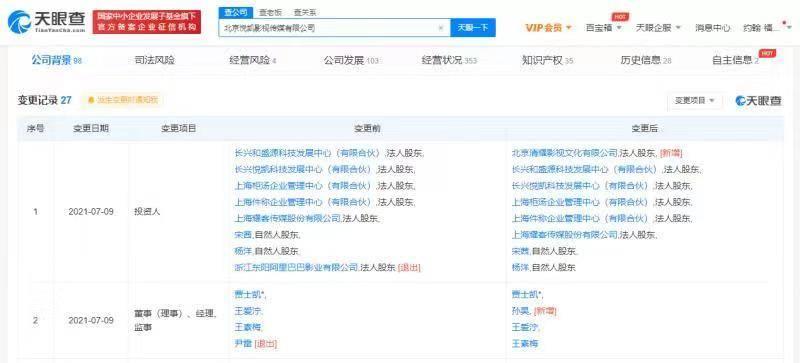 阿里巴巴影业有限公司退出北京悦凯影视传媒有限公司股东行列