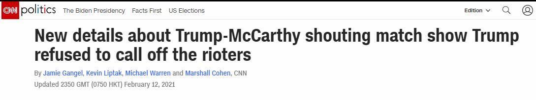 美媒:特朗普在国会骚乱期间的通话细节显示,他曾拒绝要暴徒离开