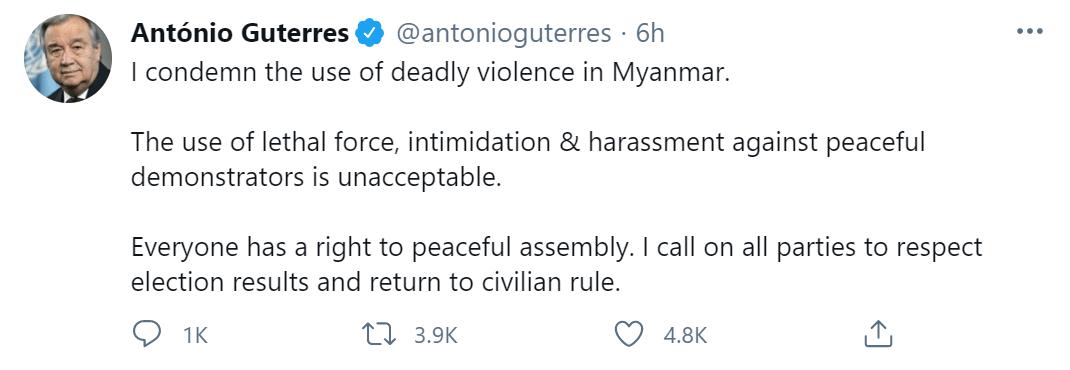 """缅甸国内抗议2人遭枪击身亡,联合国秘书长谴责""""使用致命武力""""!"""