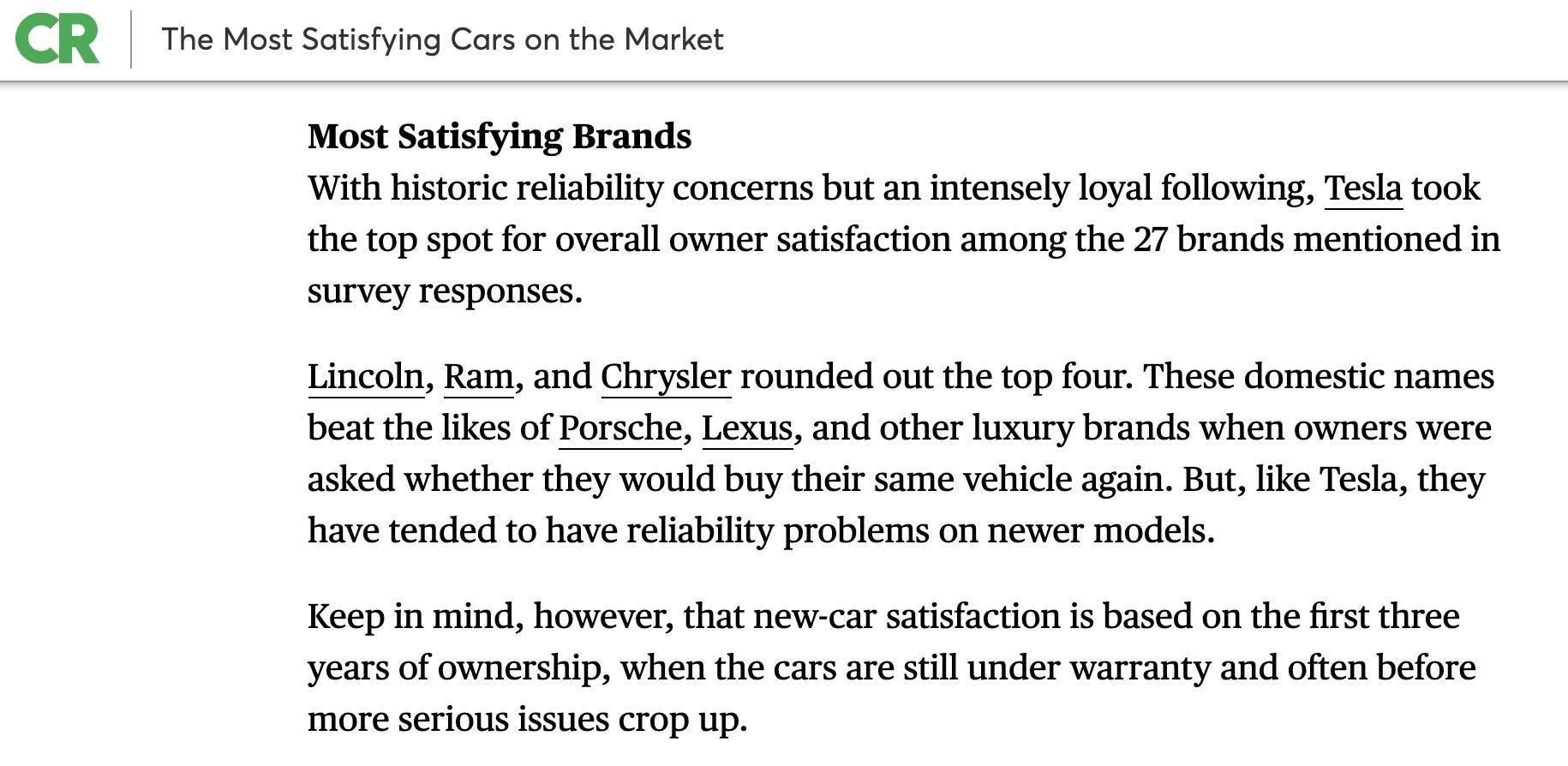 消费者报告满意度排行榜 林肯获燃油车品牌第一