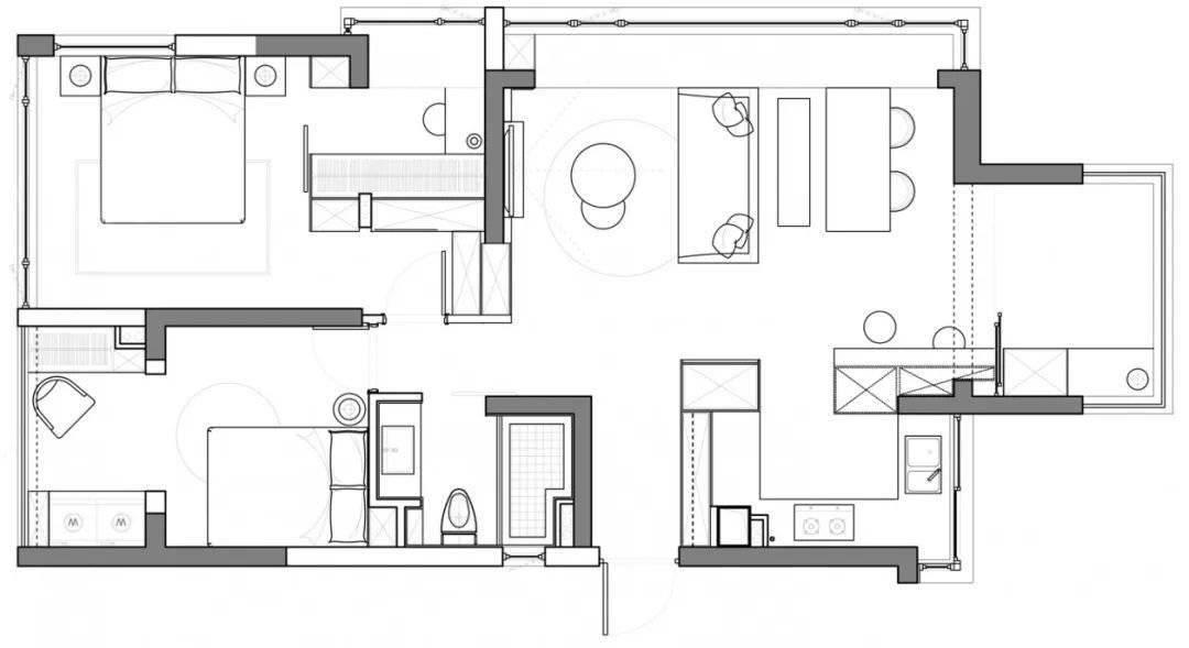 89㎡舒适小两居,百叶窗+玻璃砖,比120㎡还通透