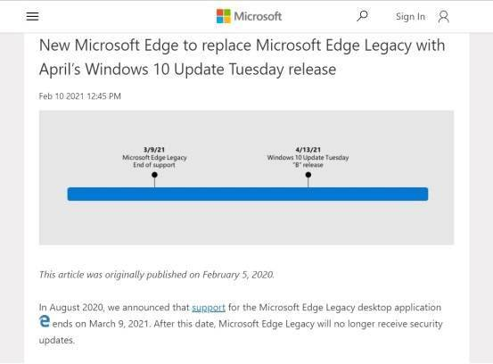 微软确认:Win10 下月全面放弃经典版 Edge 浏览器