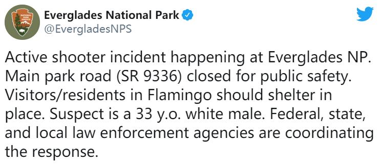 """美国佛罗里达大沼泽地国家公园因出现""""活跃枪手""""关闭"""