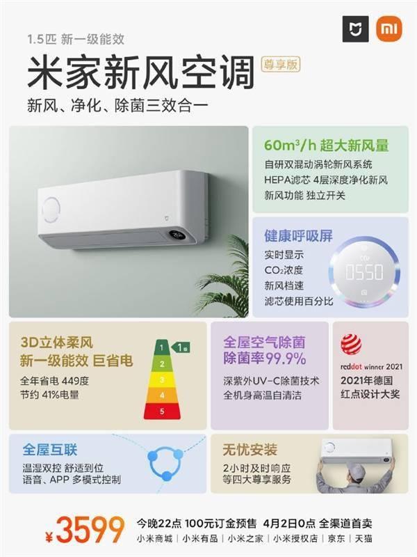 小米发布米家新风空调尊享版:实时显示二氧化碳浓度 3599元的照片 - 3