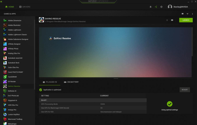 英伟达 GeForce Experience 新功能:为内容创作软件优化设置