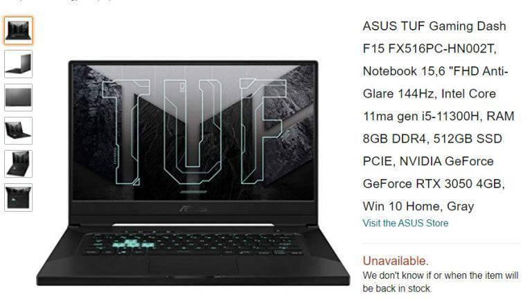 华硕 TUF Dash F15 笔记本上架亚马逊:搭载 RTX 3050 显卡 价格尚未公布