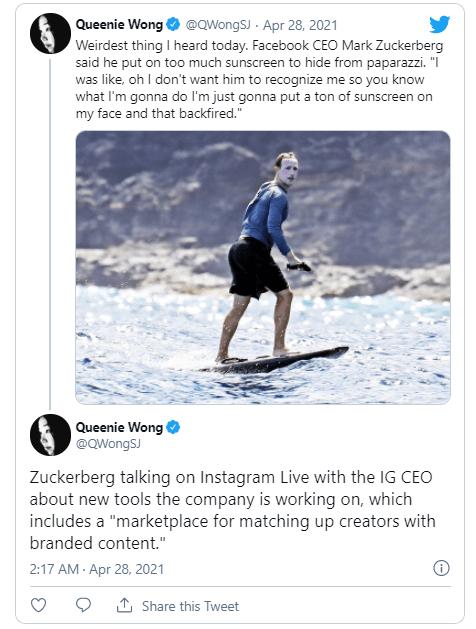 """扎克伯格称去年""""白脸冲浪""""是为了躲避狗仔队的拍摄"""