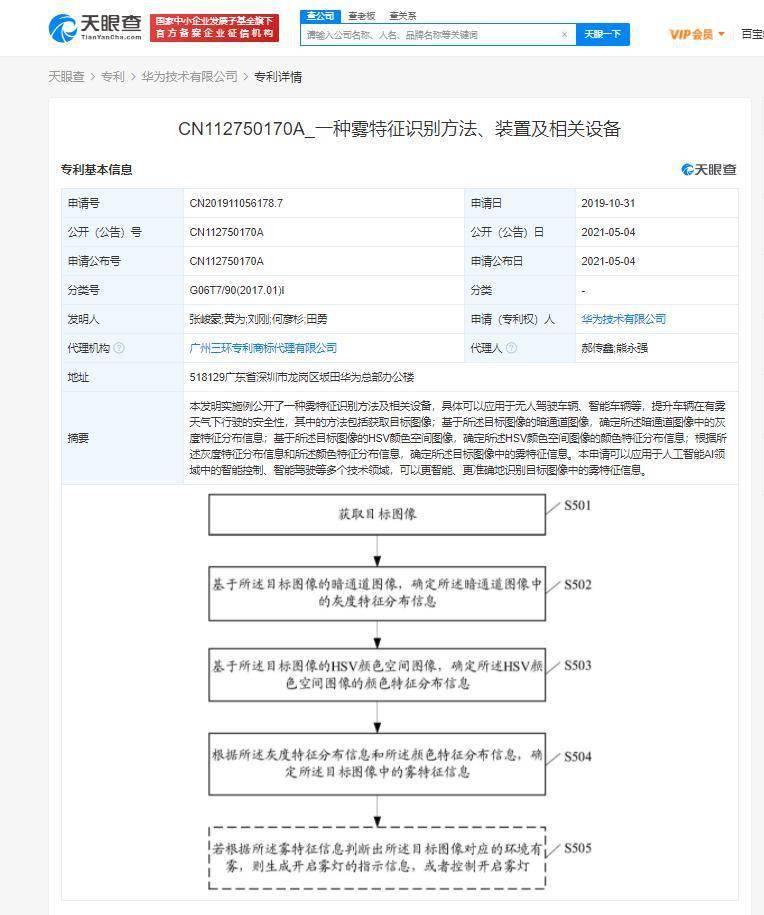 """華為公開""""一種霧特征識別方法""""專利可應用于"""