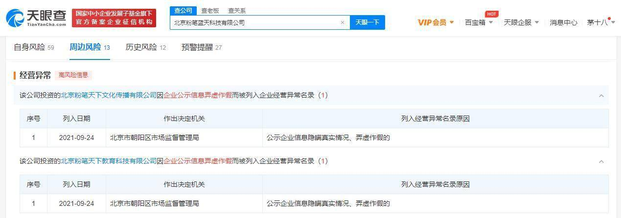 天眼查:粉笔教育关联公司被列为经营异常