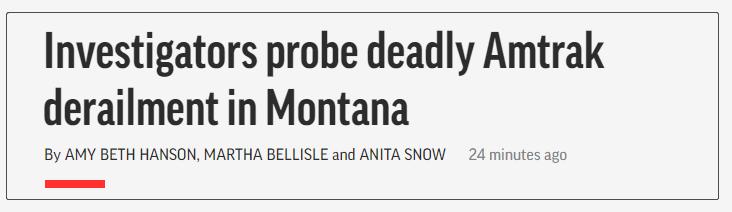 美国一火车在蒙大拿州脱轨已致3人死,超50人受伤